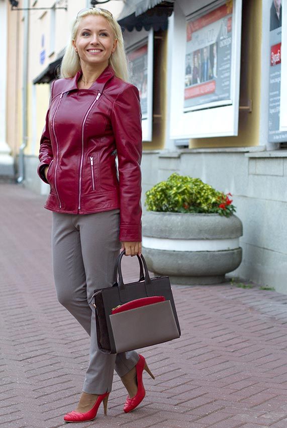 Women  leather jacket with zipper