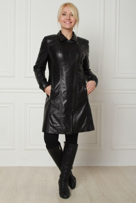 Katalóg   Kožené bundy  Kožený kabát na zips stredne dlhý fc189ef50c3
